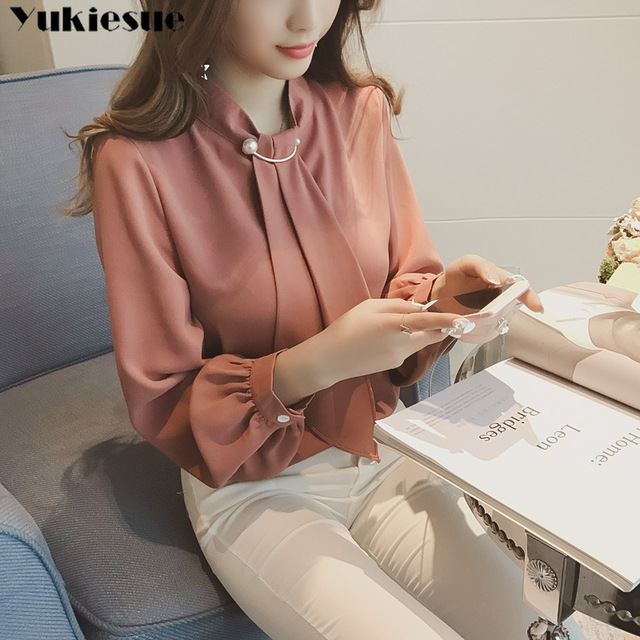 2020 summer long sleeve women's shirt blouse for women blusas womens tops and blouses chiffon shirts ladie's top plus size 1