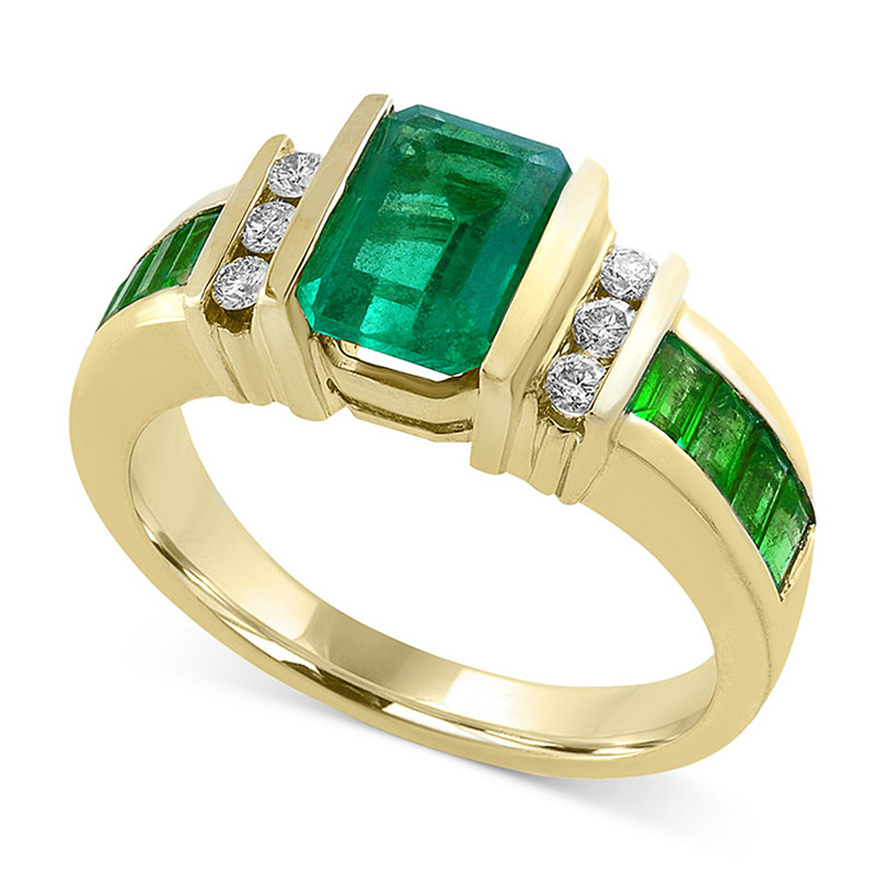 Elegant Gold Color Finger Rings For Women Fashion Jewelry Wedding Engagement Rings Gifts Classical Green Crystal Zircon Rings