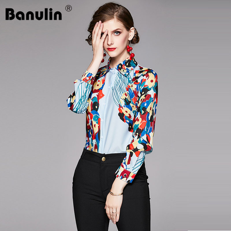 Womens Tops Blouses 2019 Spring New Runway Designer Long Sleeve flower Ladies Shirts Print Vintage Office Shirt