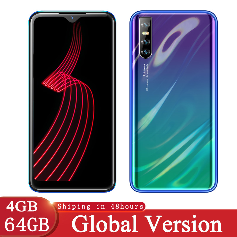 P30 Lite мобильных телефонов 4 Гб Оперативная память 64 Гб Встроенная память MT6580 4 ядра 6,26 дюймов Экран GSM/WCDMA смартфон Face ID неблокированный Android 5mp ...