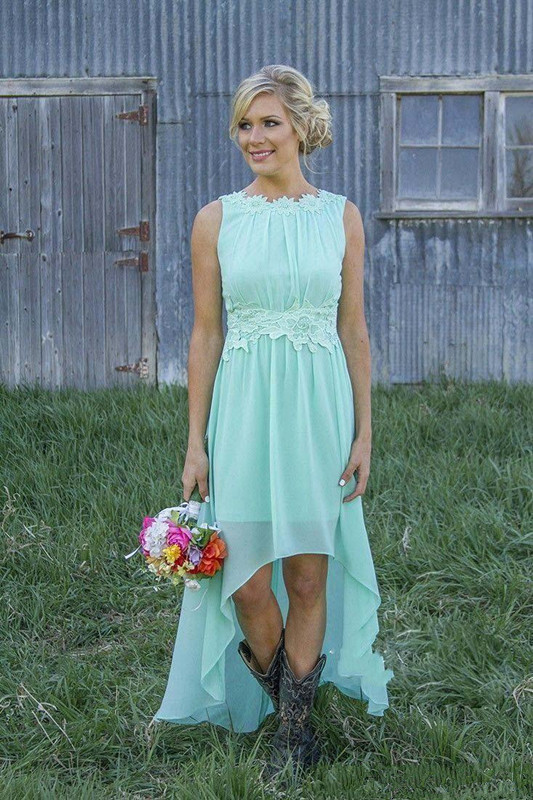 High Low Cheap Bridesmaid Dresses Under 50 A-line Chiffon Lace Mint Green Long Wedding Party Dresses