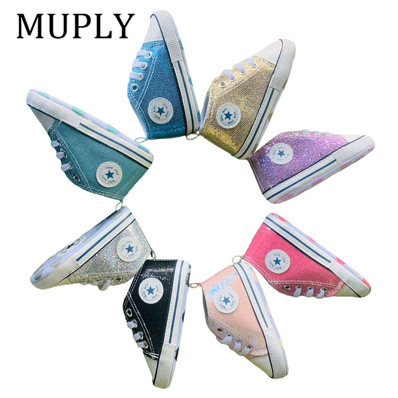 2020 New Shinning Baby Shoes For Newborn Baby Girls First Walkers Shoes Infant Toddler Soft Bottom Soled Anti-slip Kid Shoes