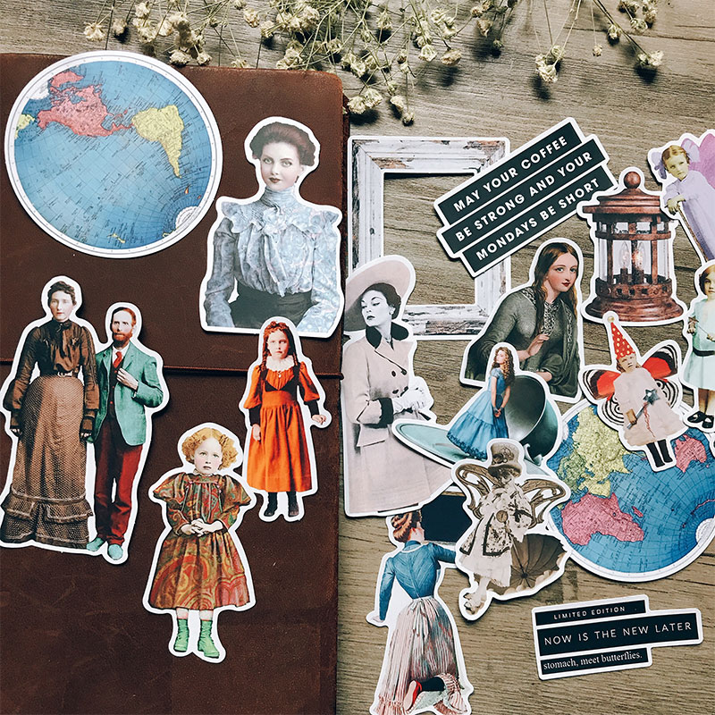 19PCS Vintage Ephemera Stickers DIY Scrapbooking Album Junk Journal Diary Week Happy Planner Decoration Stickers