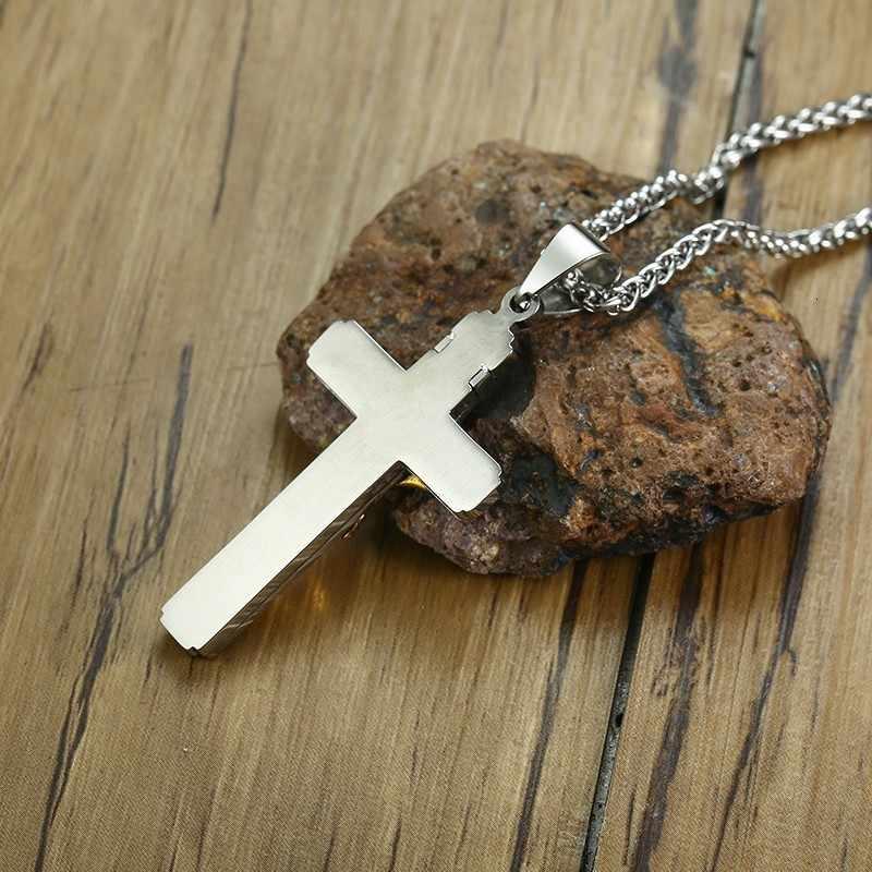 Vnox גותי ישו צלב תליוני עבור גברים שרשרת נירוסטה צלב תפילת אדון דת תכשיטי עם חיטה שרשרת