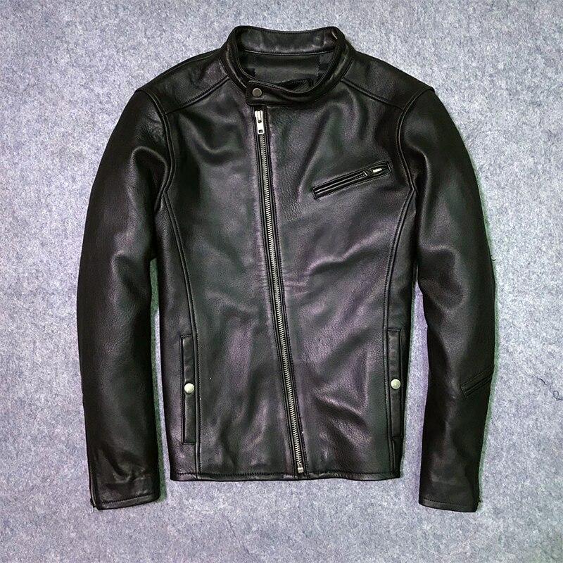 2020 New Fashion Genuine Leather Jacket Men Winter Jacket Male Moto Biker Real Cow Leather Coat Streetwear Clothes LW1465
