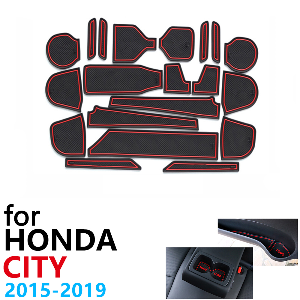Anti-Slip Rubber Cup Cushion Door Groove Mat For Honda City GM6 2015~2019 Grace Ballade Accessories Mat For Phone 2016 2017 2018