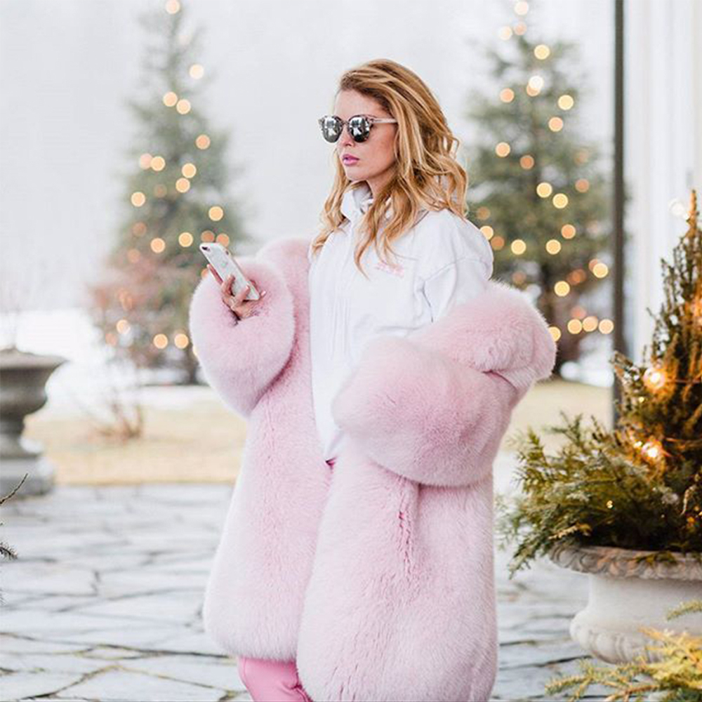 TOPFUR 2019 Fashion Pink Coats Real Fur Coat Women Natural White Fox Fur Coat Lapel Collar Loose Pink Fur Full Sleeves Fox Fur