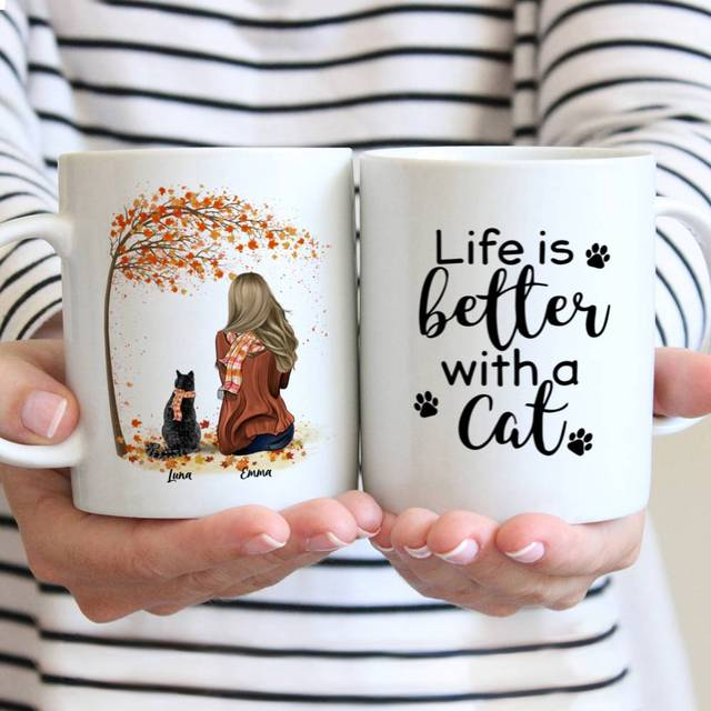 Personalized Mug Girl and Cats Autumn Life Is Better with A Cat Coffee Cups Gift for Family DIY 11/15 Oz R2068 1