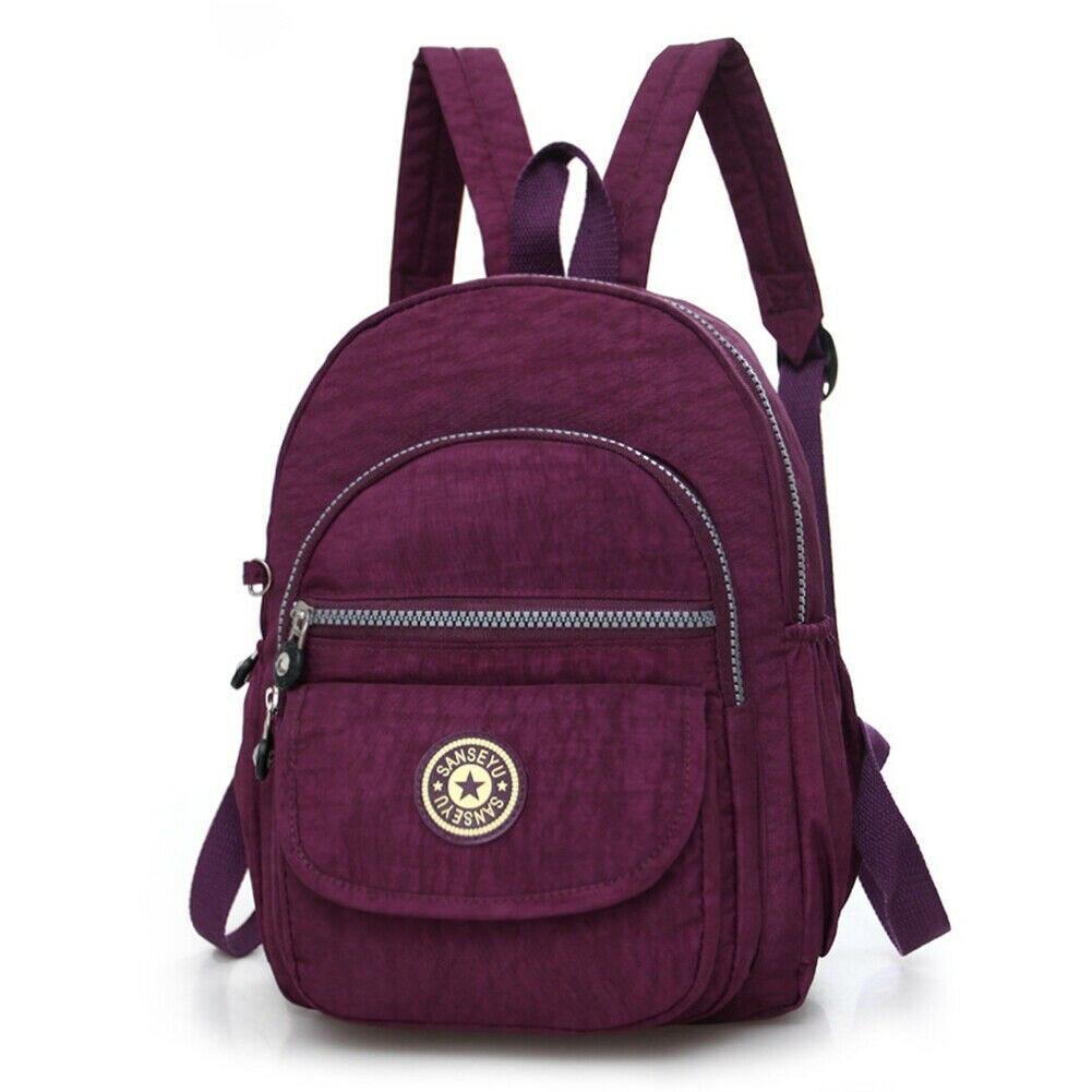 Повседневное женский рюкзак с защитой от краж с простой твердой колледж Стиль школьная сумка Мода Дорожная сумка для путешествий - Цвет: Фиолетовый