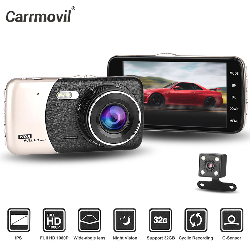 Carrmovil Dual Objektiv Auto Kamera <font><b>Dash</b></font> <font><b>Cam</b></font> Multi Sprache Voller HD Nachtsicht G-Sensor Motion Detection Auto Fahren video Recorder image