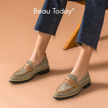 BeauToday Penny Loafers Women Genuine Cow Leather Plaid Cloth Pointed Toe Slip-On Spring Autumn Ladies Flats Handmade 27375