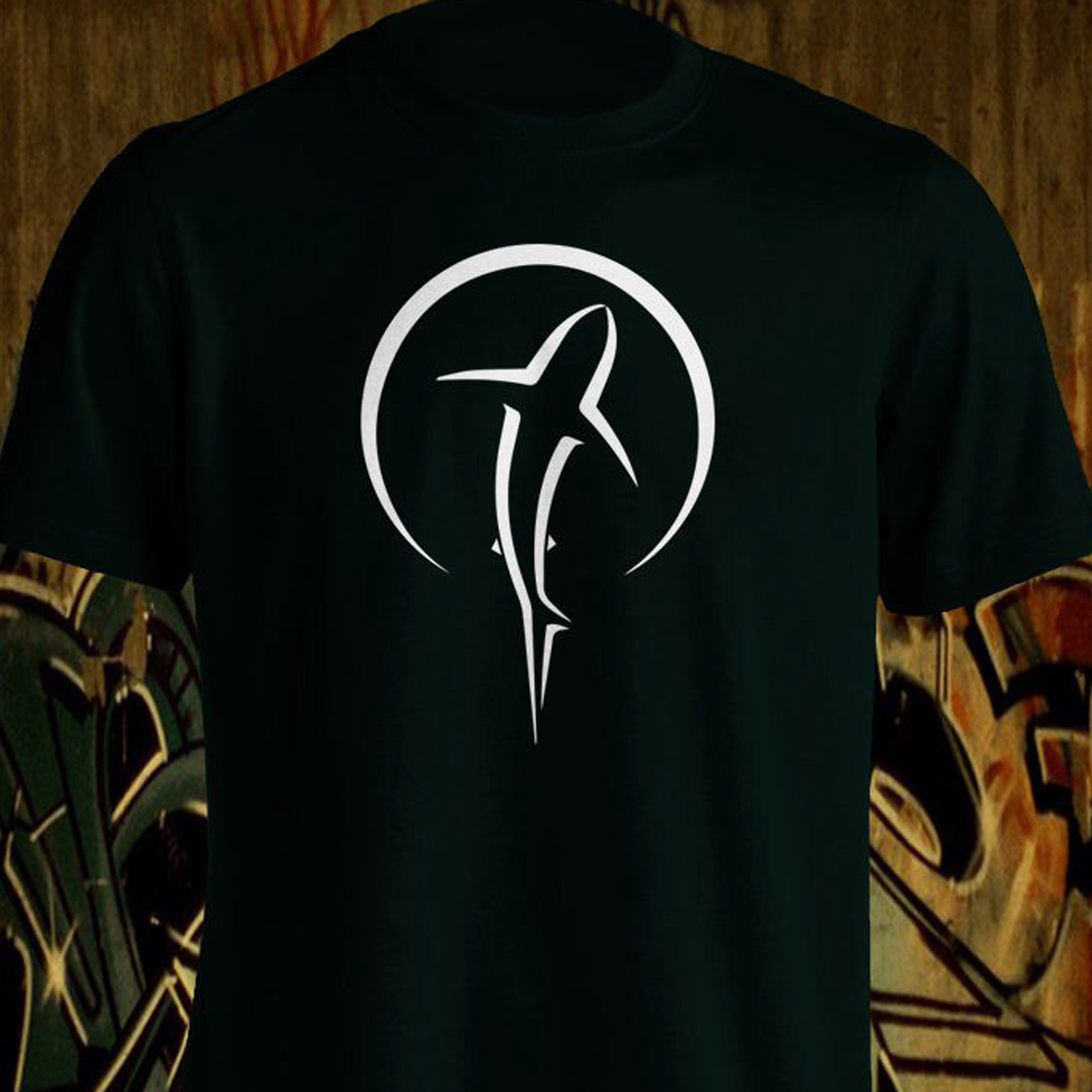 * Shark In Moon * Graphic T 100% Comfort Cotton ~ All Proceeds Go To Charity Fashion T Shirts Slim Fit O Neck 034702 image
