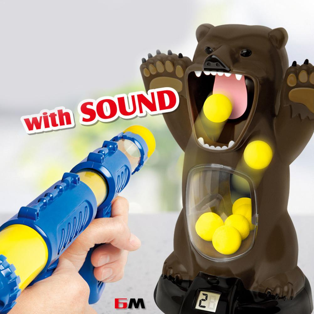 Children's Gas Shooting Toy Foam Ball Shooting Air Pump Toy Fun Shooting Game Hungry Bear Electric Toy For Kids