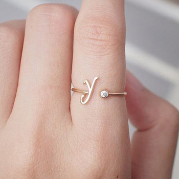 Stainless Steel A-Z 26 Letters Rings for Women Tiny Wedding Ring Alphabet Crystal Initial Rings Finger Jewelry Accessories Gift 1