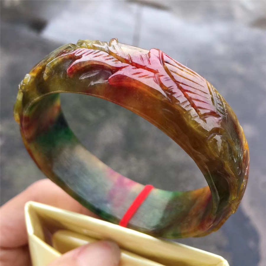 Chinese Emerald Carving Ruyi Bracelet 54-62mm Charm Jewellery Fashion Accessories Hand-Carved Man Woman Luck Amulet Gifts