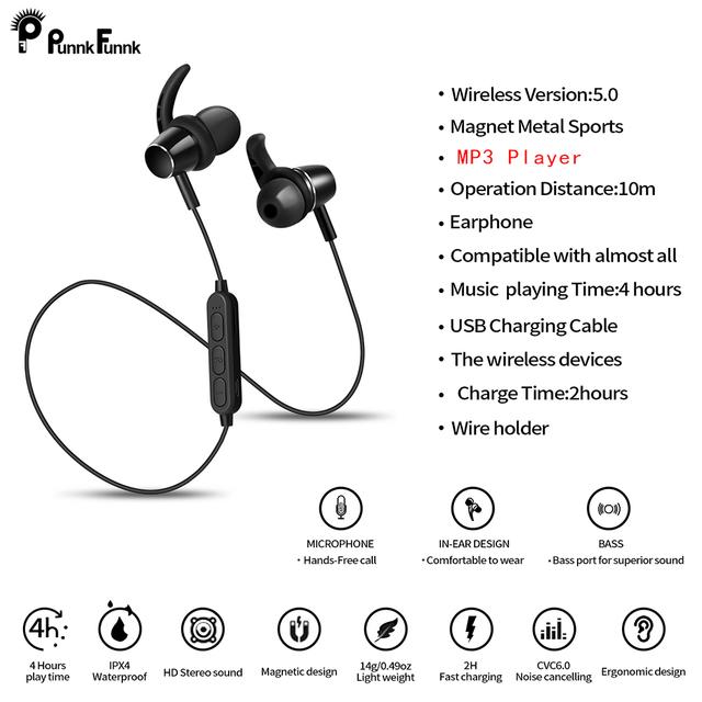 PunnkFunnk Bluetooth Earphone Sport Wireless Headphones Bluetooth 5.0 Built in MP3 Player Magentic 3D Bass Stereo earbuds W/Mic