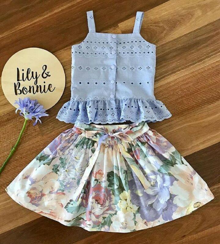 Floral Toddler Kids Baby Girl Vest Tops Short Skirt 2Pcs Summer Outfit Clothes