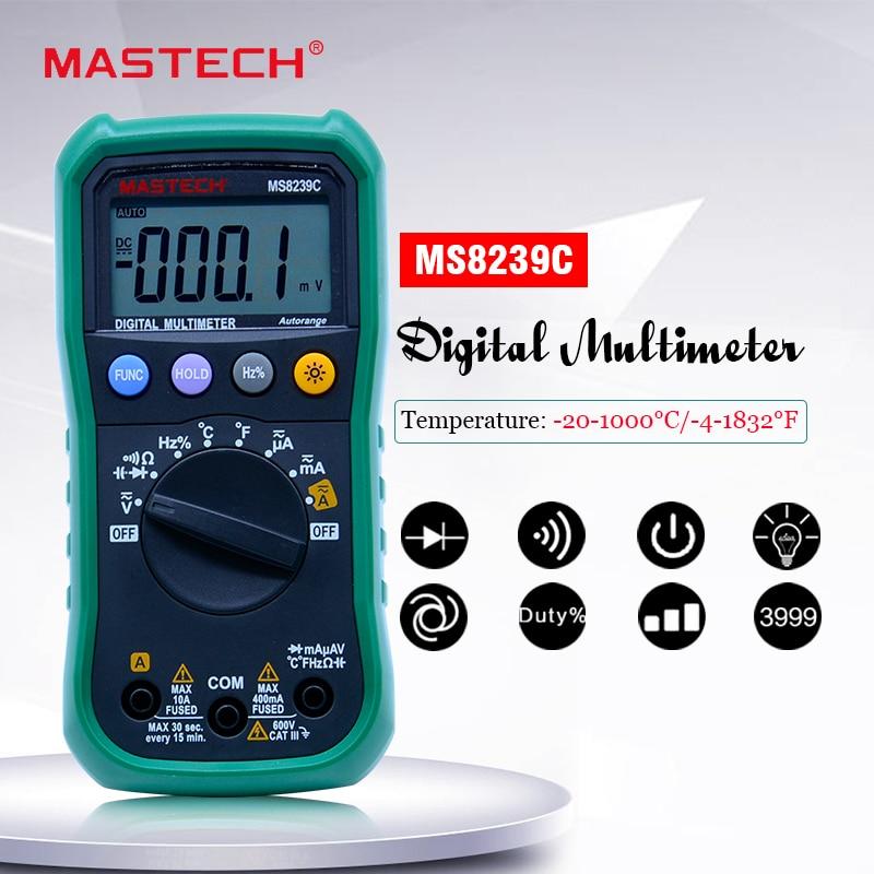 Digitální multimetr MASTECH MS8239C AC stejnosměrné napětí proudové kapacitní kmitočty teplota Tester Auto rozsah multimetro 3 3/4