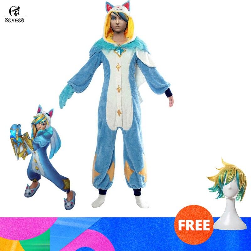 ROLECOS Ezreal LOL Original Cosplay Costume Pajama Star Guardian LOL Cosplay Costume Ezreal Star Guardian Winter Pajama Women