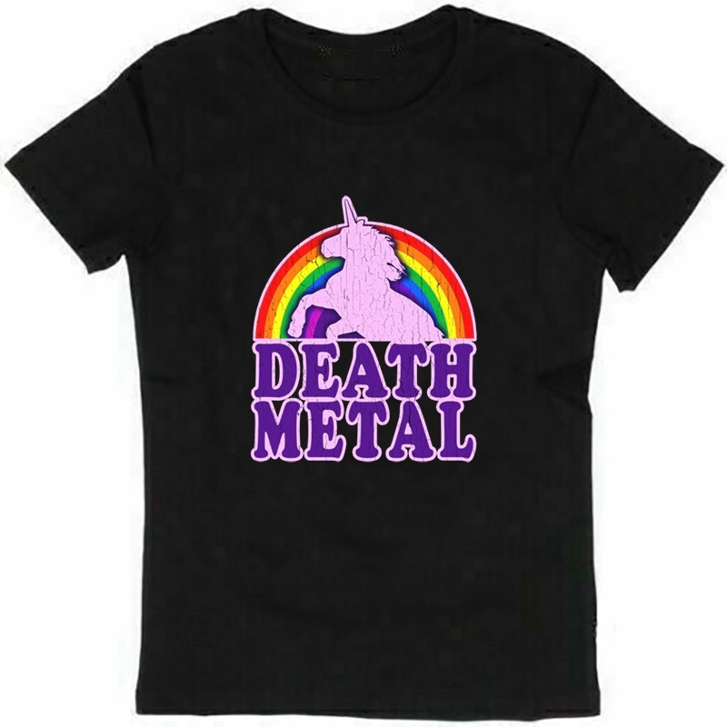 Funny Death Metal Unicorn Vintage Distressed Mens Funny T Shirt Tops Cotton Short Sleeve T-shirt Camisetas Hombre Shirts