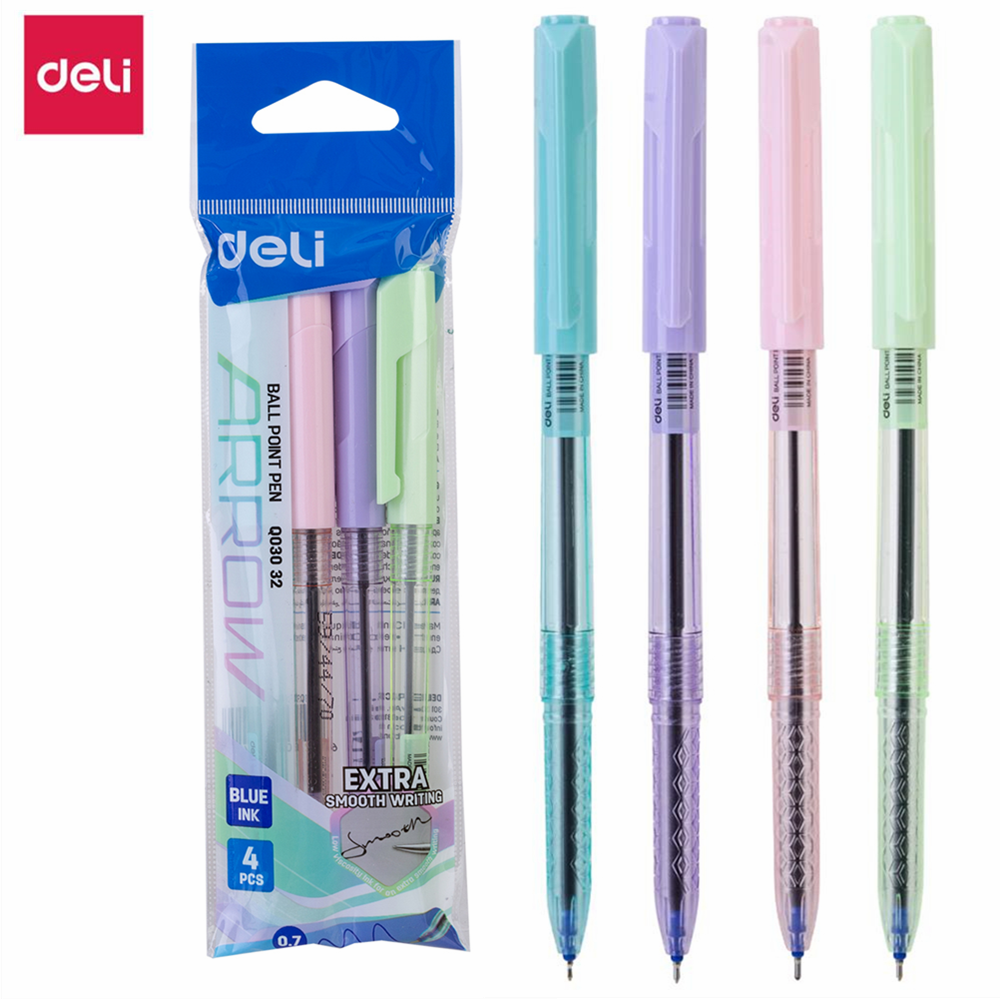 DELI Ball Point Pen 4 Pcs/Bag Color School Ballpoint Pen Mini Tip 0.7mm EQ03032
