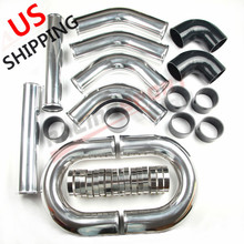 цена на US Universal 3.5 inch Aluminum Turbo Intercooler Piping Kit Pipes Clamp Coupler