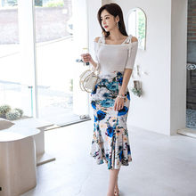 Women Summer OL Work Wear 2 Pieces Suit Off The Shoulder Knitting Top & Print Sheath Mermaid Skirt Casual Occupation Set(China)
