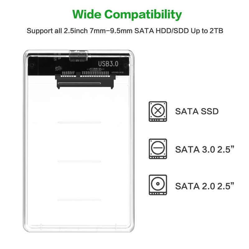 透明 2.5 インチhddをssdケースsata usb 3.0 アダプタ送料 5 5 gbpsボックスハードドライブのエンクロージャのサポート 2 テラバイトuaspプロトコル