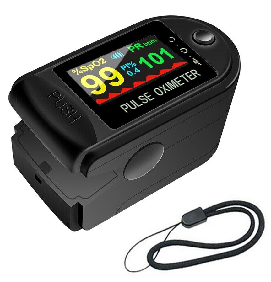 Пульсоксиметр на палец, портативный измеритель пульса и уровня кислорода в крови