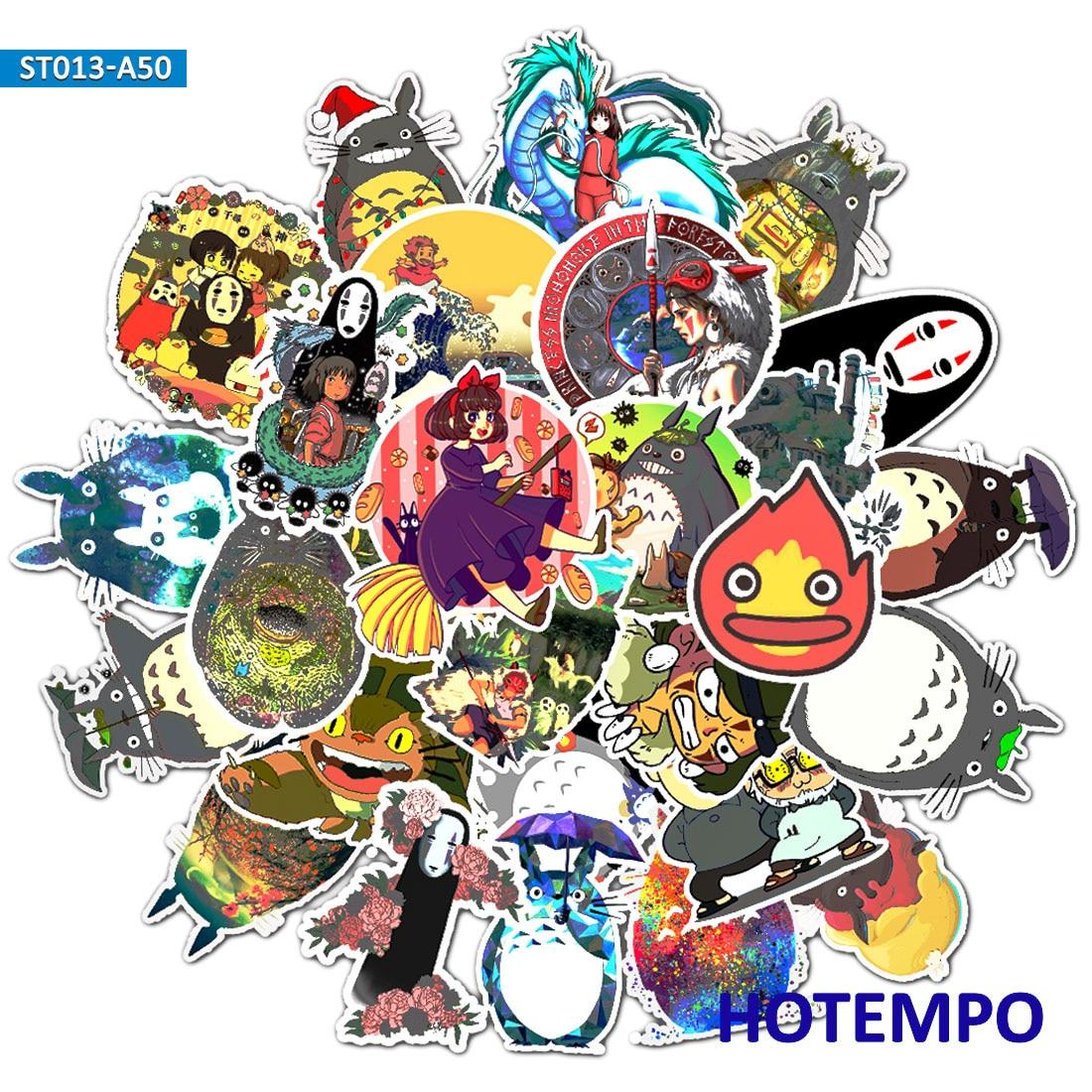 50pcs Japan Comics Miyazaki Hayao Cartoon Stickers For Mobile Phone Laptop Luggage Suitcase Guitar Skateboard Decal Stickers