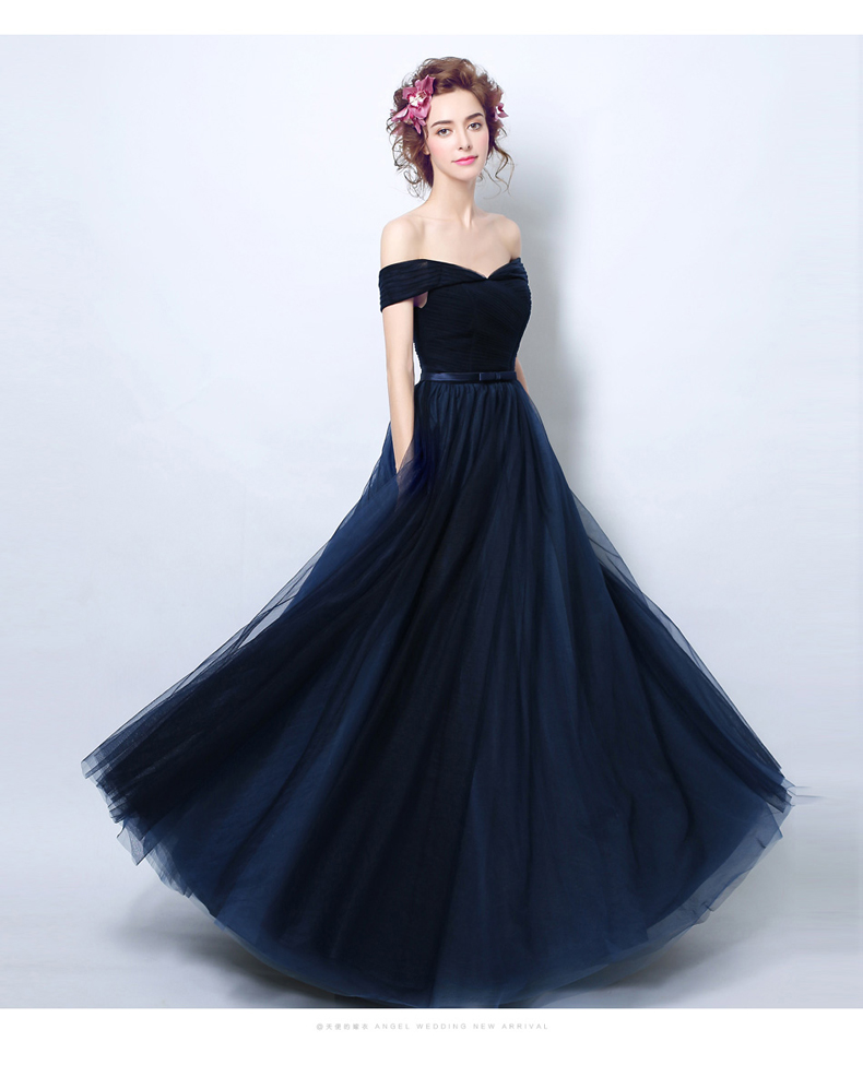 Navy Blue Tulle Mother Of The Dresses Off The Shoulder Robe De Soiree V Neck Formal Party Dress Vestidos De Fiesta De Noche