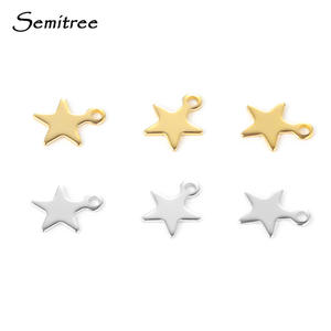 Semitree 20pcs Stainless Steel Small Star Pendant Flat Charms for DIY Jewelry Making Necklace Decoration Bracelet End Tail Charm