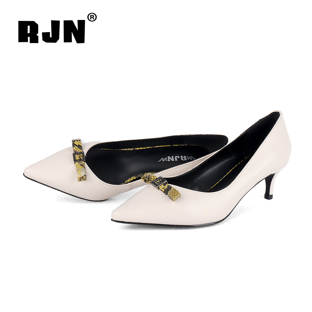 Hot Sale RJN Sexy Pointed Toe Pumps Butterfly-Knot High Quality Sheepskin Classic Black Thin Heel Slip-On Shoes Women Pumps For Job R42