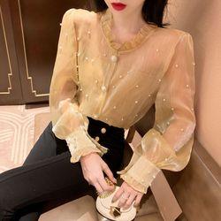 Hong Kong Sapore Nuovo Stile 2019 Retro Del Merletto Piccolo Collare Del Basamento a Balze Maniche Garza Versatile Magliette E Camicette Perline Stile Occidentale Underwea