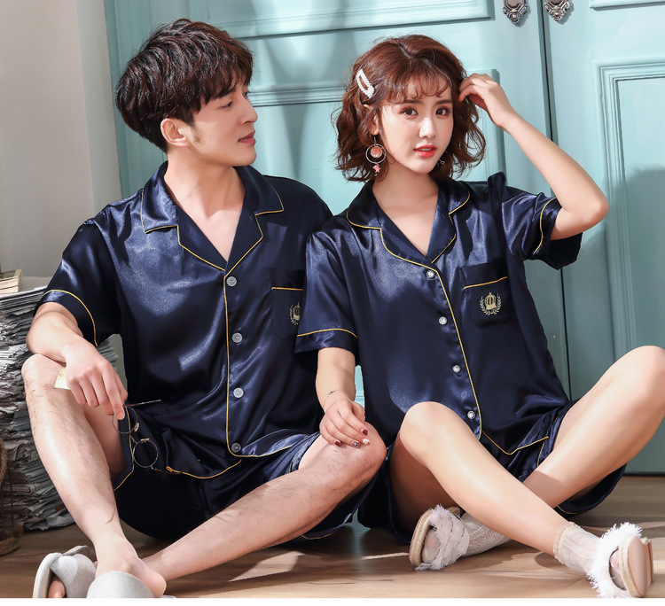 Silk Couple Dress Embroidered Lace Silk Satin Spring And Summer Home Shorts Suit Ladies Home Service Pajamas
