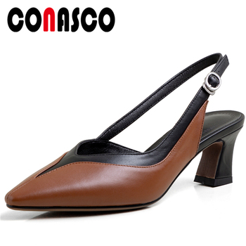 CONASCO Concise Casual Office 2020 Summer Genuine Leather Women Sandals Pumps Thick Heels Mixed Colors Pointed Toe Shoes Woman