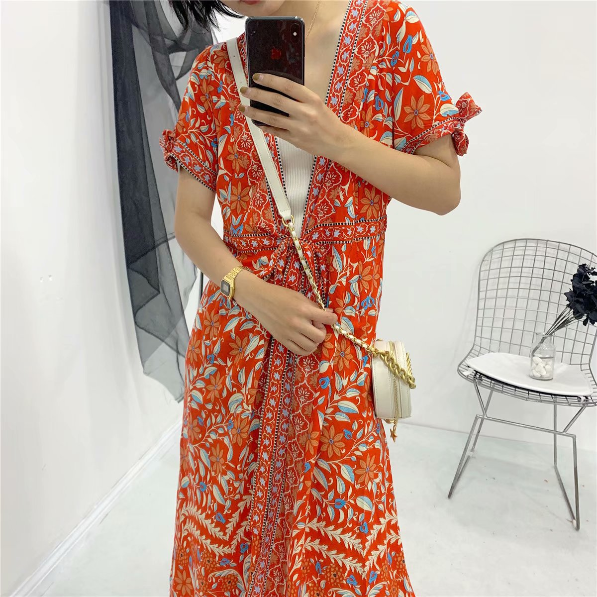 Western Style 2019 Summer New Style Orange Gardenia V-neck Dress Women Dress D1306