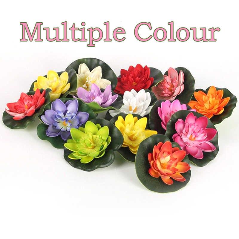 5PCS 10cm Künstliche Lotus Wasser Lilie Schwimm Blume Teich Tank Anlage Ornament Home Garten Teich Dekoration