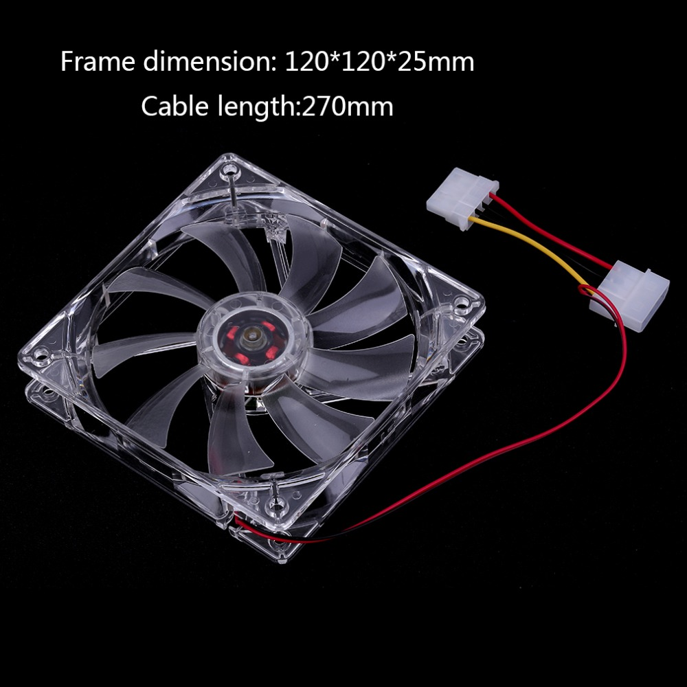 Computer Fan Sleeve Bearing Technology Fans 4 LED Blue For Computer PC Case Cooling 120MM Transparent Drop Shipping