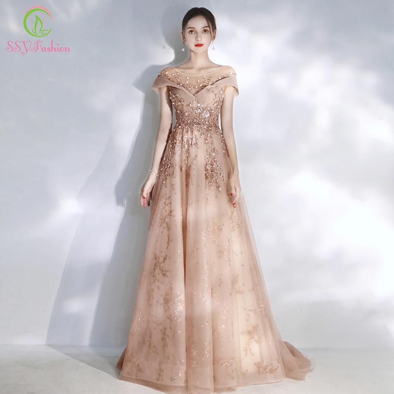 SSYFashion New Sweet Nude Pink Evening Dress Scoop Sweep Train Sequins Appliques Romantic Long Formal Gowns Vestido De Noche