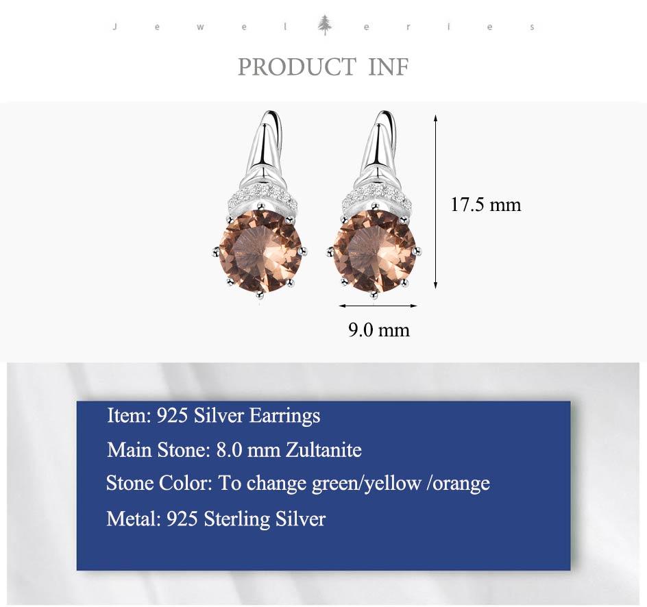 Kuololit Zultanite Gemstone Clip Earrings for Women Solid 925 Sterling Silver Color Change Diaspore Stone Earrings Fine Jewelry (3)