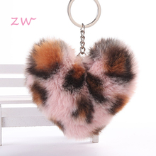 Fluffy Fur Pompom Keychain Soft Lovely Heart Shape Pompon Leopard Print Loving Hairball Key Ring Ring Party Gift цена в Москве и Питере