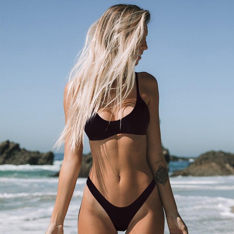 Minimalism Le Sexy Micro Bikini Set 2020 Solid Swimwear Brazilian Bikinis Thong Beach Wear Woman Swimsuit Bathing Suit biquini