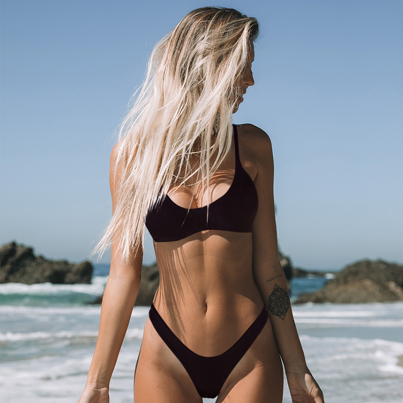 Minimalism Le Sexy Micro Bikini Set 2020 Solid Swimwear Brazilian Bikinis Thong Beach Wear Woman Swimsuit Bathing Suit Biquini