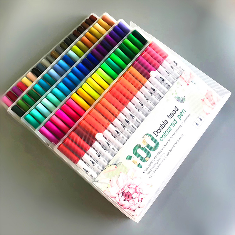 Brushpen Set Markers Pen Set Dual Brush Pen 24/60/100 Colors Student Graffiti Art Supplies Portable Drawing Colors Crafts