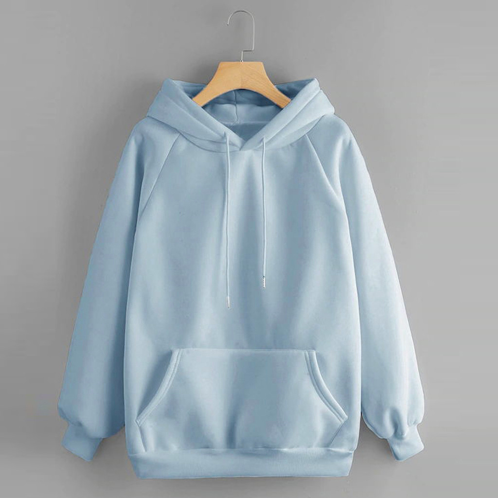 Women's Casual Solid Color Tops Hooded Pocket Long Sleeve Pullover Sweatshirt Spring Autumn Soft Female Girls Blouse With Pocket