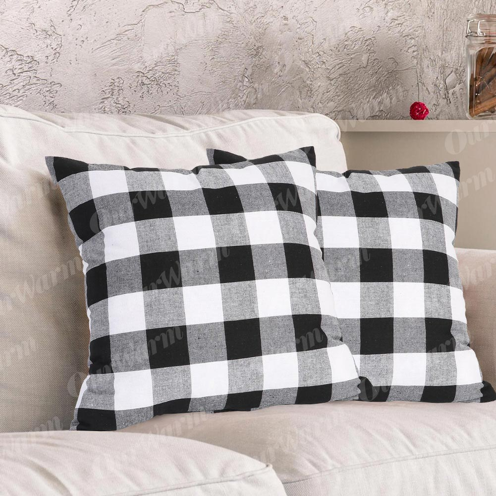 Yumin Throw Pillow Cases Black White Buffalo Checkers Plaids Throw Pillow Covers Cushion Cases Cotton Linen for Couch Bed Sofa Home Decor Set of 4