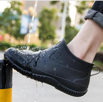 side flower rain boots women waterproof rubber fashion rainboots wedges casual high quality ankle short boots water shoes female 2020 Men Rain boots man Water shoes male Ankle boots men Casual Boots Men rubber rain shoes Waterproof Outdoor rain shoes