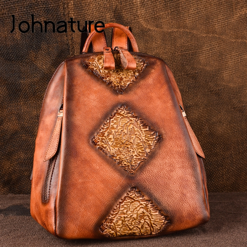 Johnature Handmade Retro Fashion Large Capacity Women Backpack Genuine Leather Solid Color Embossing Cow Leather Travel Backpack