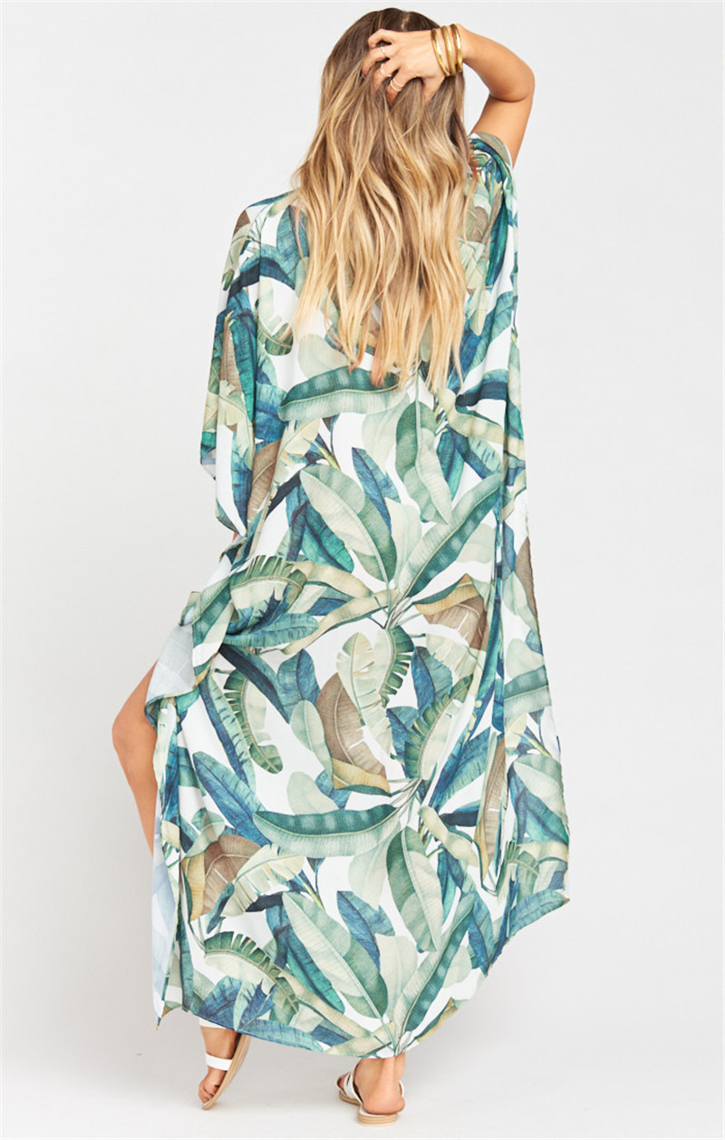 Europe And America New Style Quick-Dry Dacron Leaf Printed Beach Skirt Loose-Fit Holiday Skirt Bikini Cover-up Sun Shirt